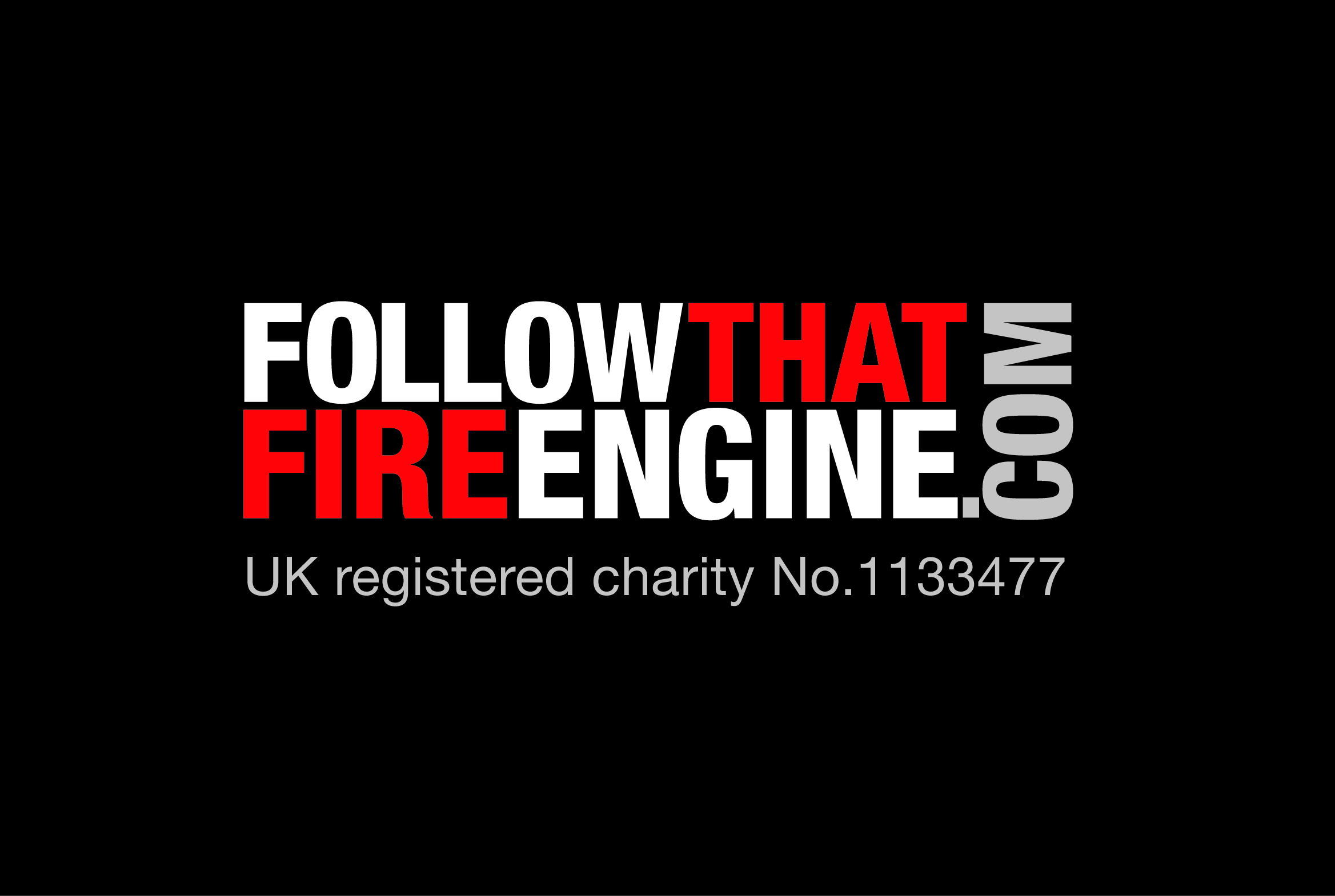 FOLLOW THAT FIRE ENGINE Logo without engine (for red background)